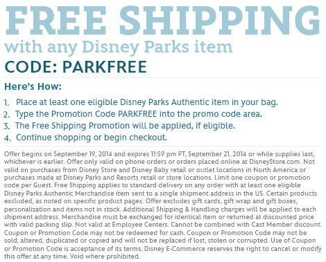 Free Shipping with Disney Parks purchase - CODE: PARKFREE